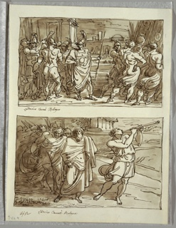 Upper drawing of groups of men in classical armor with city and walled temple in background. Lower drawing of figure in bloused tunic playing long pipes, pointing right. Group of figures at left includs older man with long cloak and turban, soldiers and bound figure. Part of temple visible in background.