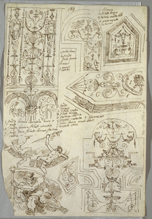 Six decorative studies showing partitions with putti and garlands; allegory of time. Verso: Anatomical study of right arm; frieze of Nereid and Triton.