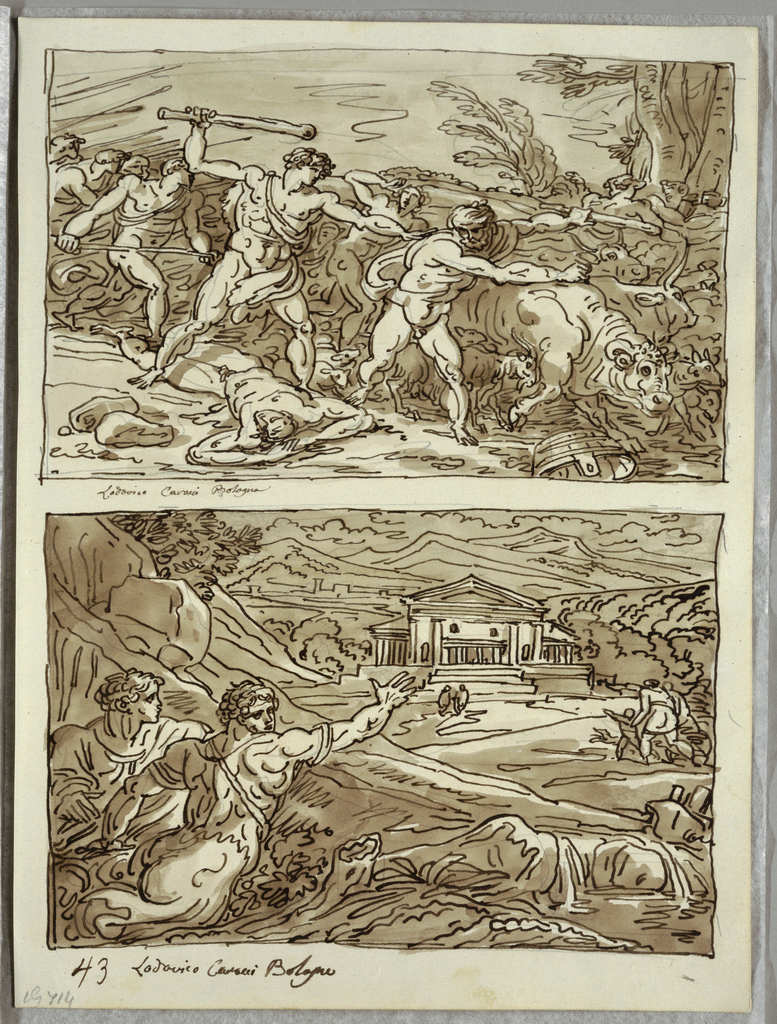 Upper drawing, figure clad in animal skin with club upraised (probably Remus), at left, standing over slain man; he is about to strike nude man herding ox. Goat, cows, and oxen seen in background. Other figures moving towards right from left. Lower drawing, two men, seen in half-figure; (one looks over shoulder, with outstretched right arm) move across stream, toward temple at middle ground. More figures at right. Hilly landscape setting.
