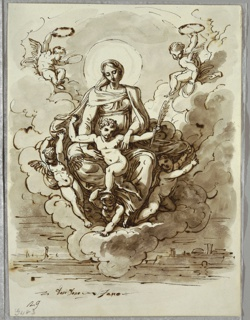 At center, Madonna and Child seated on clouds, supported by three putti, with two other putti flying at upper right and left; Child holds crown and palm of martyrdom. Below suggestion of walled city.