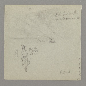 Recto: Sketch of a rainbow with a steamer at sea.; Verso: A  castle on the edge of the sea with cypress trees.