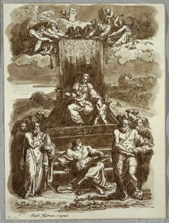 At center, Madonna sits on throne with patterned hanging, holding Child, and with left hand on head of young St. John. Group of angels above; numerous Saints standing at left and right. At lower center mature St. John seated on steps leading to throne.