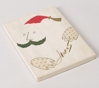"Flat, vertical rectangular package, on the cover is a stylized face of Santa Claus in the manner of Saul Steinberg under which, between two mittens, is printed the name ""Hanes"".  The fur trim on the cap, the pattern of the mittens and name ""Hanes"" are embossed.   Printed in red, green, black and metallic gold on white."