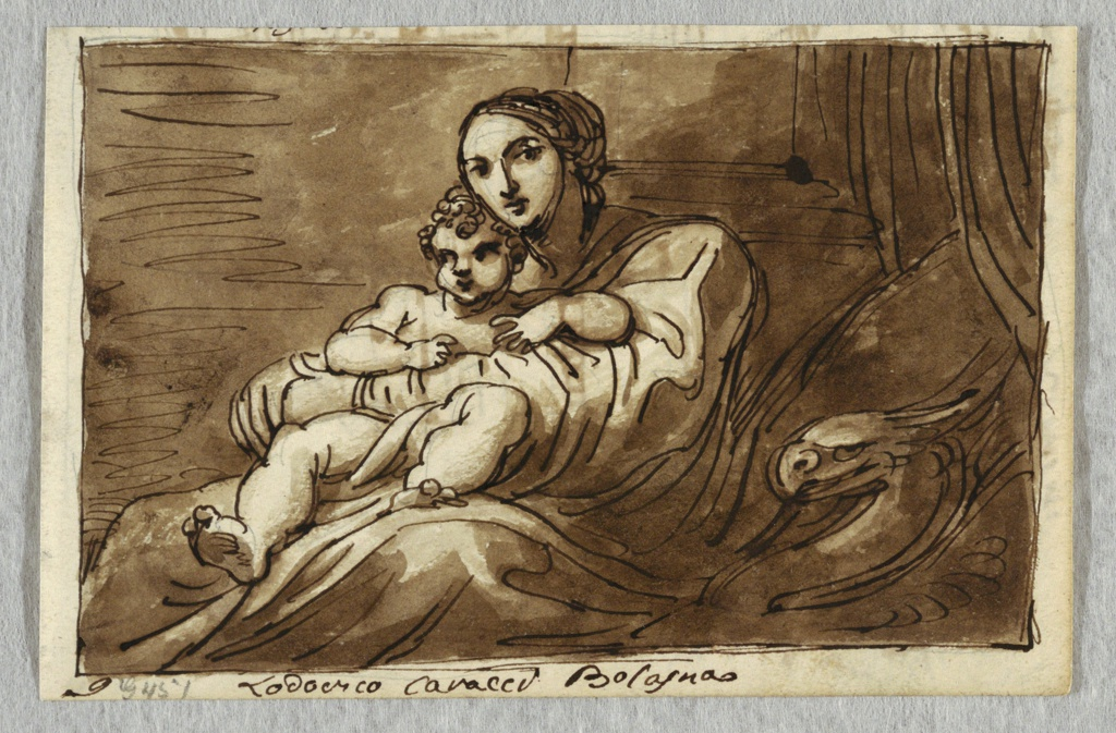 Seated Madonna with Child on her lap; suggestion of column and base and draperies in the background.