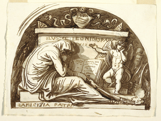 A sarcophagus topped by a coat-of-arms stands in a lunette-like niche while a sorrowing putto points out the inscription to Leonida Spada.  A woman with a torch crouches in the left foreground.