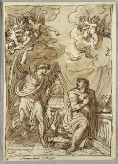 Angel of annunciation comes in from left while Madonna kneels at right, looking back to angel. Setting is curtained interior, with angels and putti on clouds above.