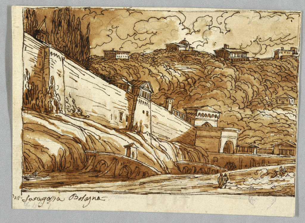 "Stream crossed by bridge; in distance, wall of city shown obliquely; gate in right middle distance. Wooded hill range with buildings form background; inscription: Porta Saragossa Bologna. On verso: top row, bottom parts of designs in -1379. ""10"" inscribed beside column.  Bottom row: top part of column and entablature; figures 1to 4. Entablature. Base of fluted column."