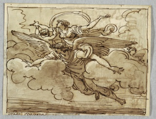 Large, magnificently winged angel supports woman on his back, floating among clouds. Winged putto supports one of woman's arms.