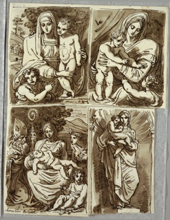 Upper left drawing of Madonna with standing Child, St.John at lower left, pointing to the Child. Upper right drawing of Madonna with standing Child who reaches to St.John in lower right. Lower left drawing of Madonna with sleeping Child, St.John sitting at lower right, bishop Saint leaning in from left, and female with bared breasts at right. Lower right drawing of standing Madonna holding Child, in niche, probably after sculpture (inscription has been cut away).