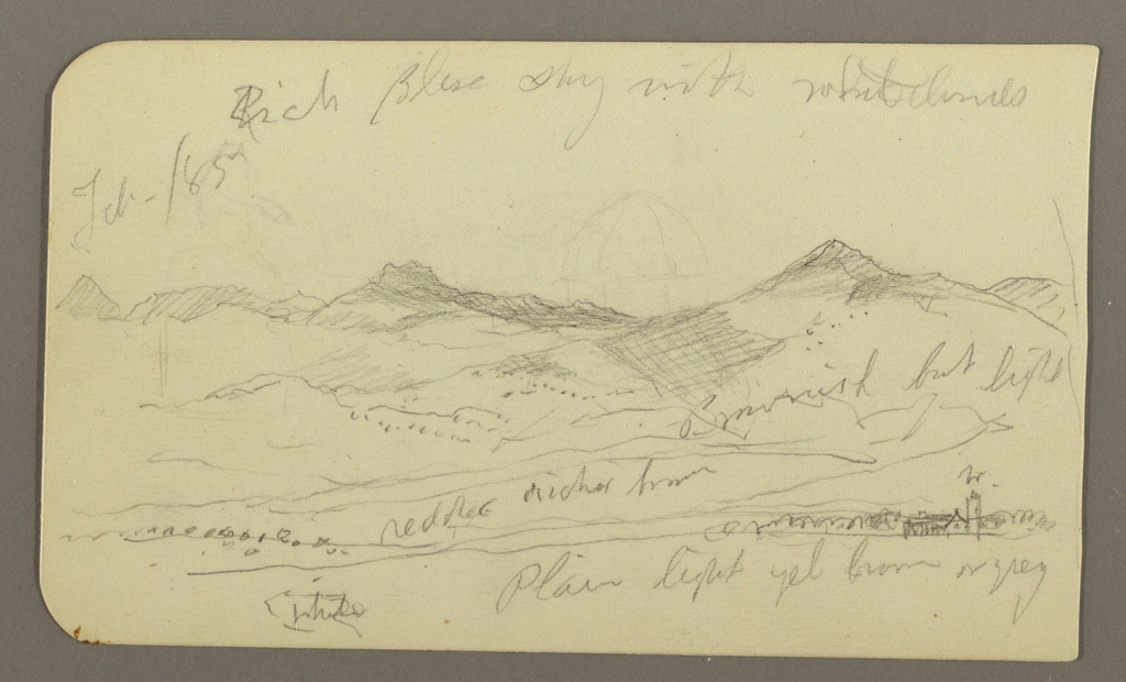 Drawing, Landscape, houses; Verso: Tree top, February 1885