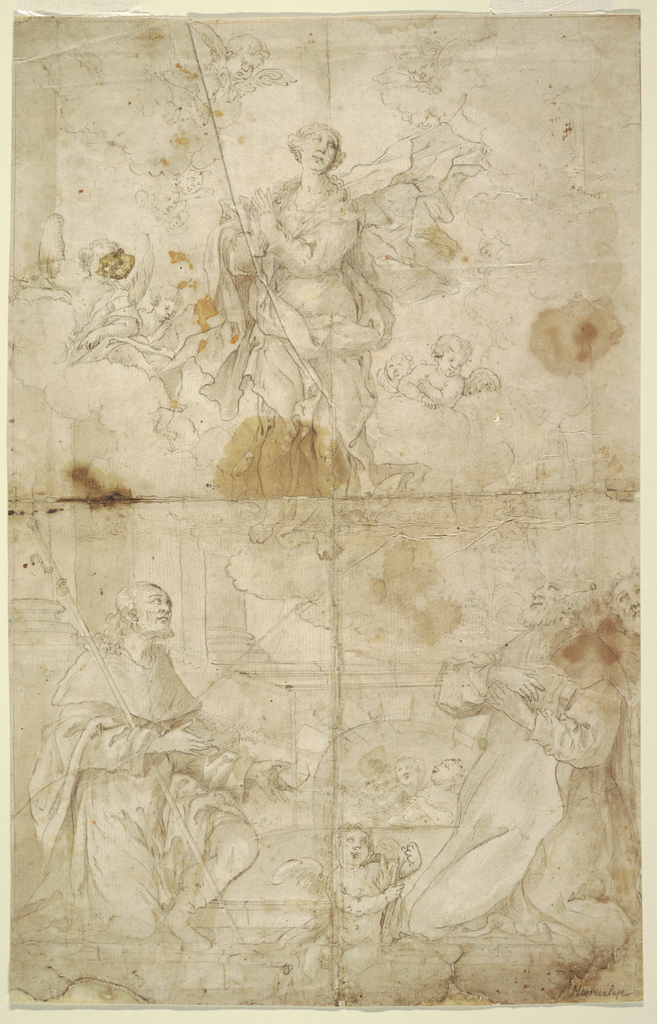 At top center: The Virgin rises up into the heavens, looking upward with hands clasped, surrounded by winged angels.  Below St.Thomas (?) and other spectators look up at the virgin.  Between the two men an angel is seated holding Mary's girdle wrapped around its arm.