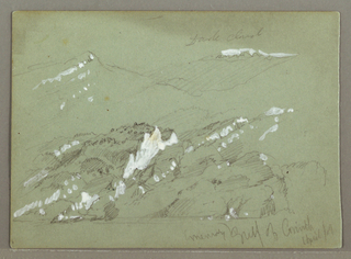 Recto:  Horizontal view of a hilly coast, with a group of houses including a mill near the shore, other houses in the middle distance, and, apparently, upon a hill in the background.  Verso: Horizontal view of foothills and high mountains seen from the sea.