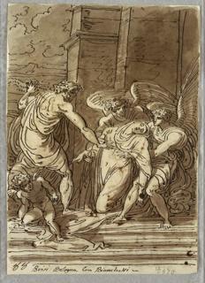 On verso: three pilasters