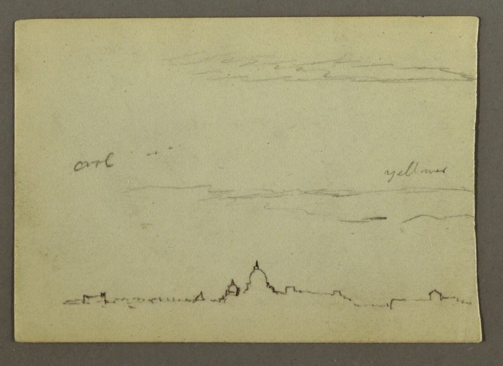 Recto:  Horizontal distant view of St. Peter's Basilica and the Vatican with a few clouds visible in the sky. Verso:  Horizontal view of a group of trees whose tops are not visible at the left and a part of a tree trunk at the top right.