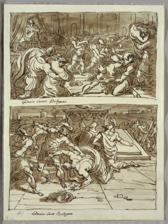 Upper drawing of struggle between women and classically dressed warriors. Lower drawing of man crawling at center being slain by Romulus and Remus, one with spear other with sword. At middleground two warriors, one with shield, kneel before altar. Figures and city wall in background.