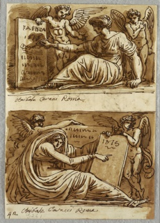 Upper drawing of seated Sybil turned towards left, and writing on tablet; two putti flank her. Lower drawing of seated Sybil facing front but turned towards right and pointing at tablet. Two putti flank her.