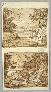 Two mountain landscapes after Martinelli. Inscribed: Martinelli Bologna. Verso: Capital, Spiral, molding, keystone, coffer.