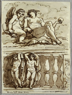 Upper drawing of Venus seated on clouds, holding apple(?) in left hand; at left, Cupid with his bow and quiver of arrows. Lower drawing of two putti at left, posed like caryatids, holding draperies. Background shows balustrade with suggestion of coat-of-arms at right.