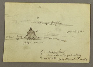 Recto: Horizontal view containing a distant view of the dome of St. Peter's against a sky with some clouds.  Verso:  Horizontal distant view of the dome of St. Peter's seen from the Northwest.