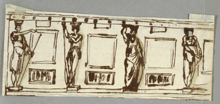 Horizontal rectangle with four caryatids and six panels.