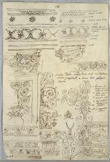 Recto: Eight studies of friezes and candelabrum. Verso: anatomical study of head and profile.