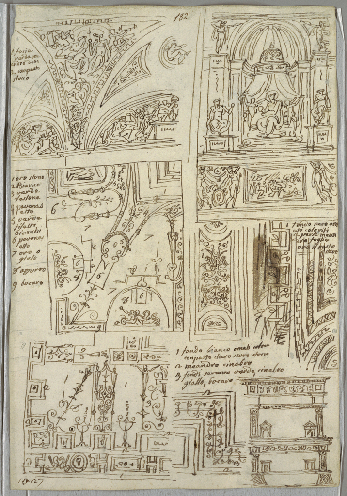 Recto: five studies of ceilings; madonna. Verso: two anatomical studies showing toes, in profile and straight view.