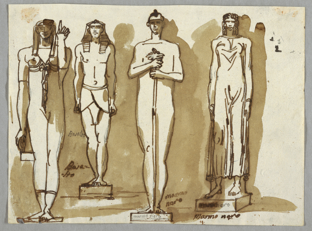Drawing, Four Statues in Egyptian Style