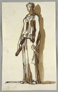 Shown at oblique angel, turned left. Lowered left hand holds corner of dress. Lowered right hand holds paper roll.