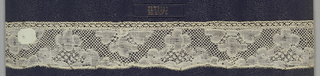 Edge of bobbin lace, staggered floral brackets; late 18th century Buckinghamshire.