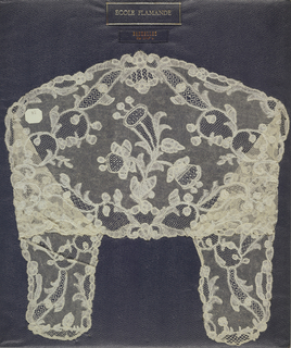 Bobbin lace collar, growing flowering plant, early 18th century Brussels