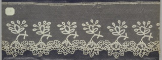 Applique of bobbin lace, free-standing floral border. Early 19th century Honiton on machine net edge.