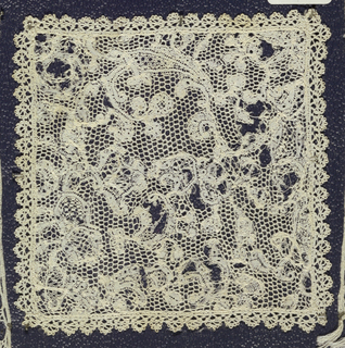 Bobbin lace square, scrolling floral; 18th century Bruges.