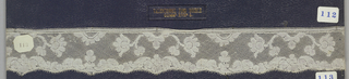 Bobbin lace border, symmetrical floral; late 18th century Valenciennes