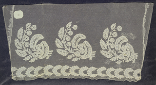Sample, applique and embroidery on net, branched leaf motif; late 19th century Carrick-McCross