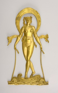 Standing figure of naked Venus under long, flowing, arched scarf, riding the waves on a shell pulled by two dolphins.