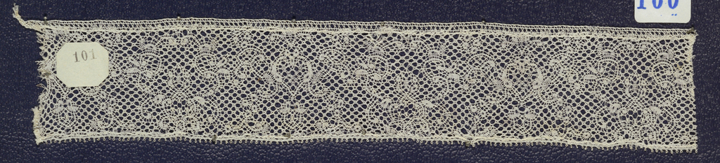 Bobbin lace pillow sample, floral scrolls; mid-18th century Flemish