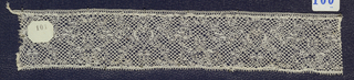 Bobbin lace pillow sample, floral scrolls; mid-18th century Flemish
