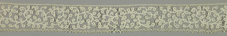 Band in a scroll pattern with bars added. 17th-century pattern, worked later and edged  with narrow pointed bobbin lace.