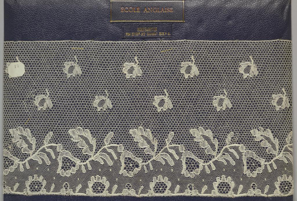 Edge of bobbin lace, floral vine border, blossom field; late 18th  century Buckinghamshire.