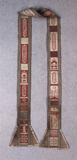 Long, narrow stole with flared ends, divided into sections containing various ecclesiastical emblems including the ladder and crosses at Gesthemane, and inscriptions including L.V.C.F.V., LONGITVDO, and SEPVLCHRI. Cream ground with blue, green, and red.