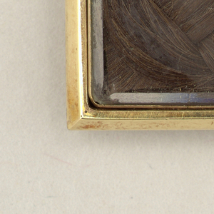 Rectangular plain gold frame surrounding a panel of braided, brown hair, shown under glass.