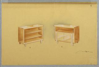 Drawing, Two bureaus