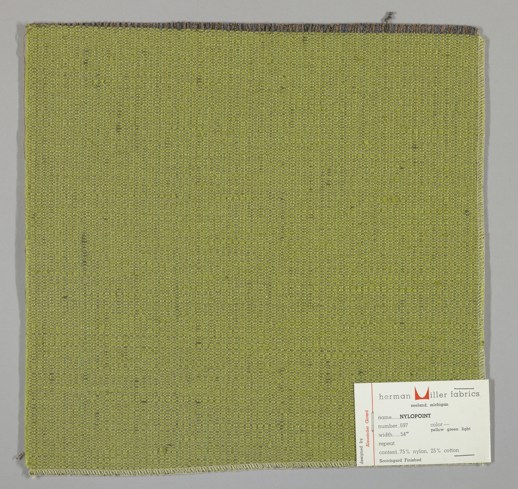 Weft-faced plain weave with doubled warps in overall yellow-green color. The weft consists of heavy yellow-green yarns. The doubled warps are comprised of fine threads in blue and brown. Number 697.