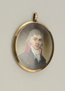 Miniature, oval-shaped, in gold frame, showing painted portrait of young man wearing blue coat with red collar and lace jobot. Back shows cracked blue glass with smaller inner oval set within smaller gold frame containing braided human hair.