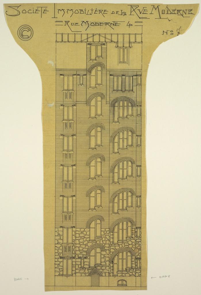 Drawing, Elevation of an Apartment Building, Société Immobilière, rue Moderne (now rue Agar)