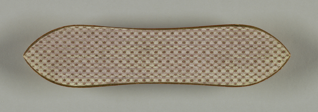 Carrying case of cardboard covered with small patterned paper, trimmed with gold paper.