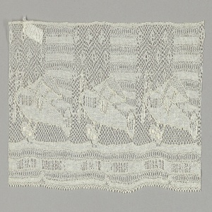"""Lace showing airplanes against a backdrop of stars and stripes with text along the bottom edge that reads """"Hurra to Lindbergh."""" Commemorative of Lindbergh's flight over the Atlantic Ocean, May 20-21, 1927."""