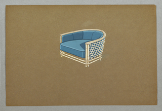 Drawing, Blue armchair with wrapar