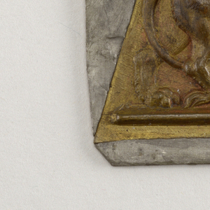 Winged cupid playing a lute riding a lion.