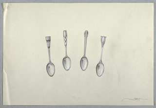 Drawing, Four teaspoons